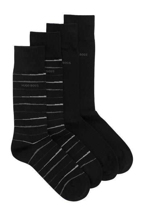 Lot de deux paires de chaussettes mi-hautes à la finition peignée, Noir