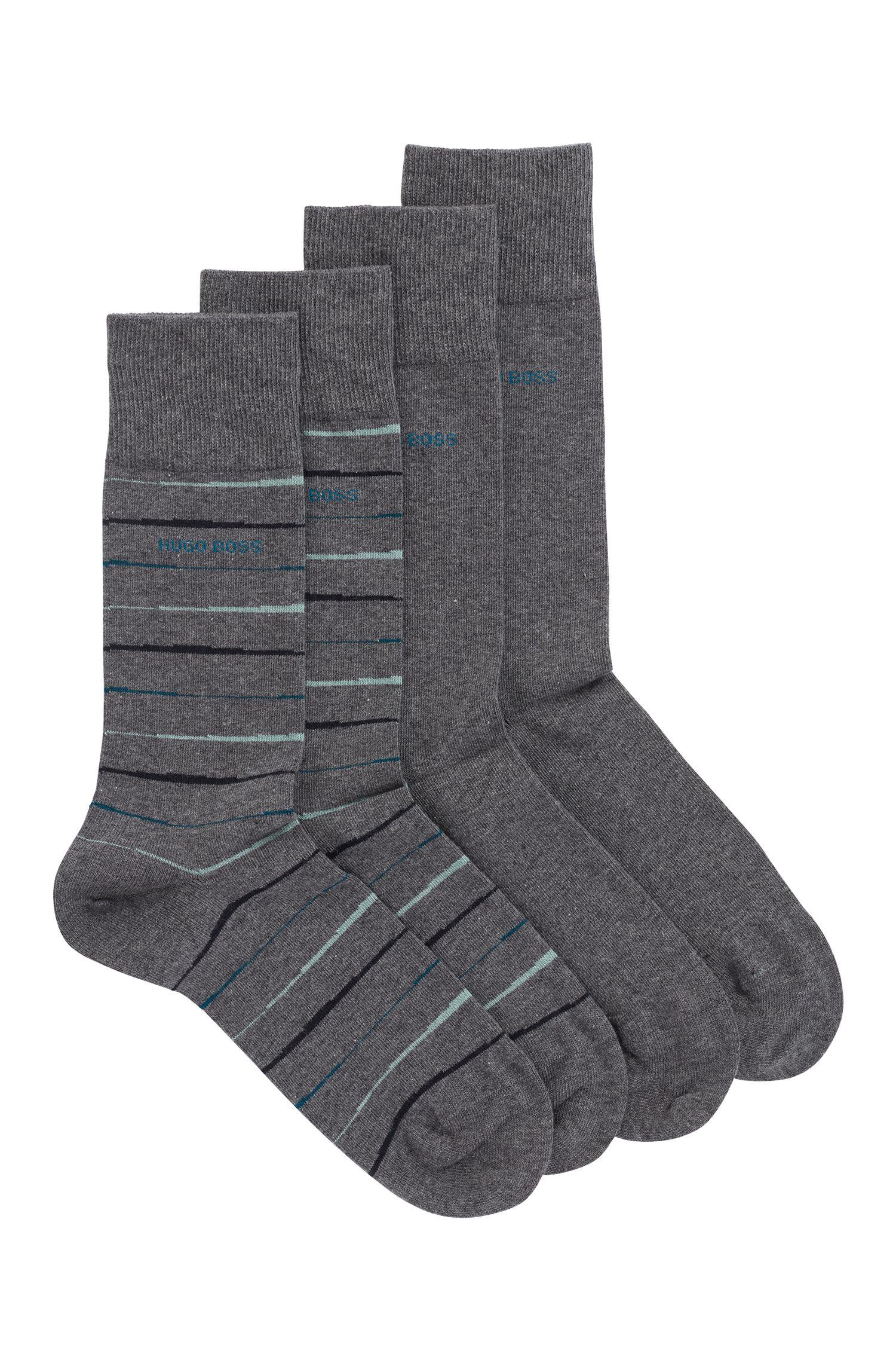 Mittelhohe Socken aus Baumwoll-Mix mit gekämmtem Finish im Zweier-Pack, Grau