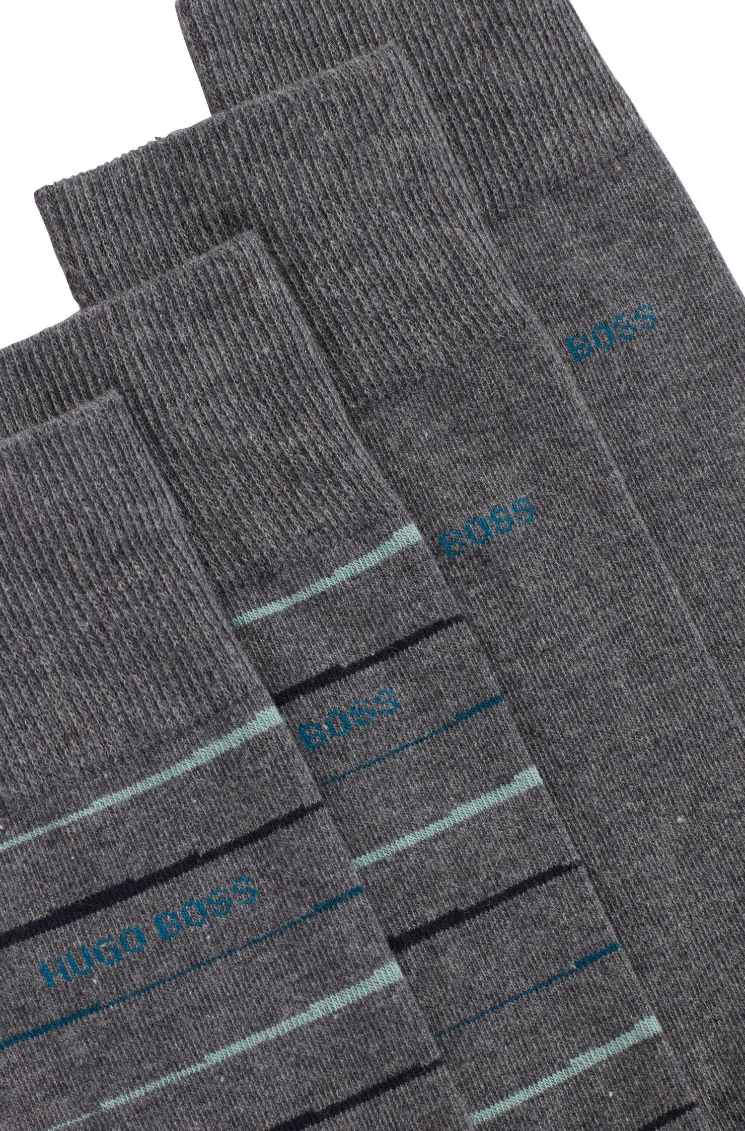 Lot de deux paires de chaussettes mi-hautes à la finition peignée, Gris