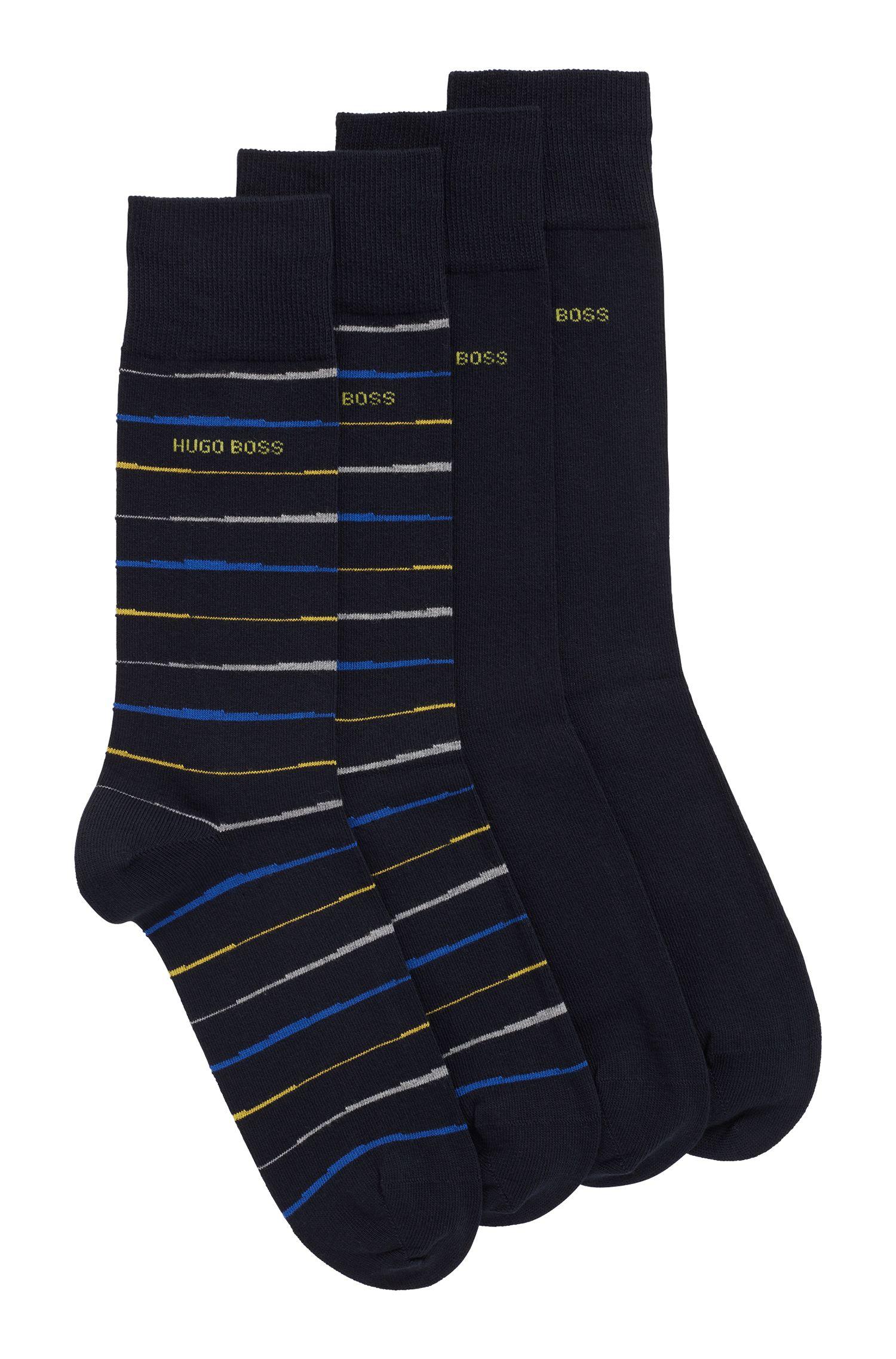 Set van twee paar sokken in standaardlengte met gekamde afwerking, Donkerblauw