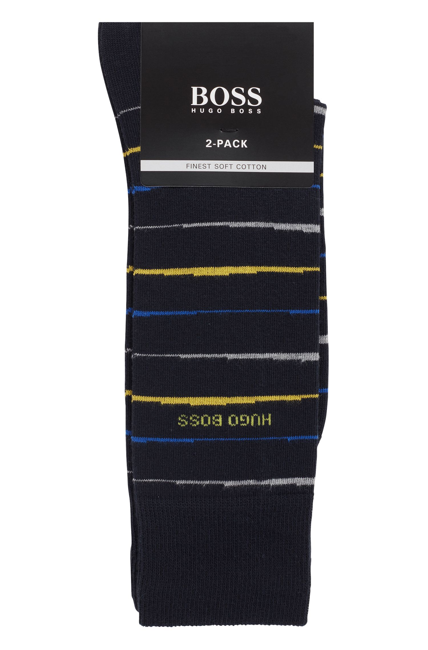 Two-pack of regular-length socks with combed finishing, Dark Blue