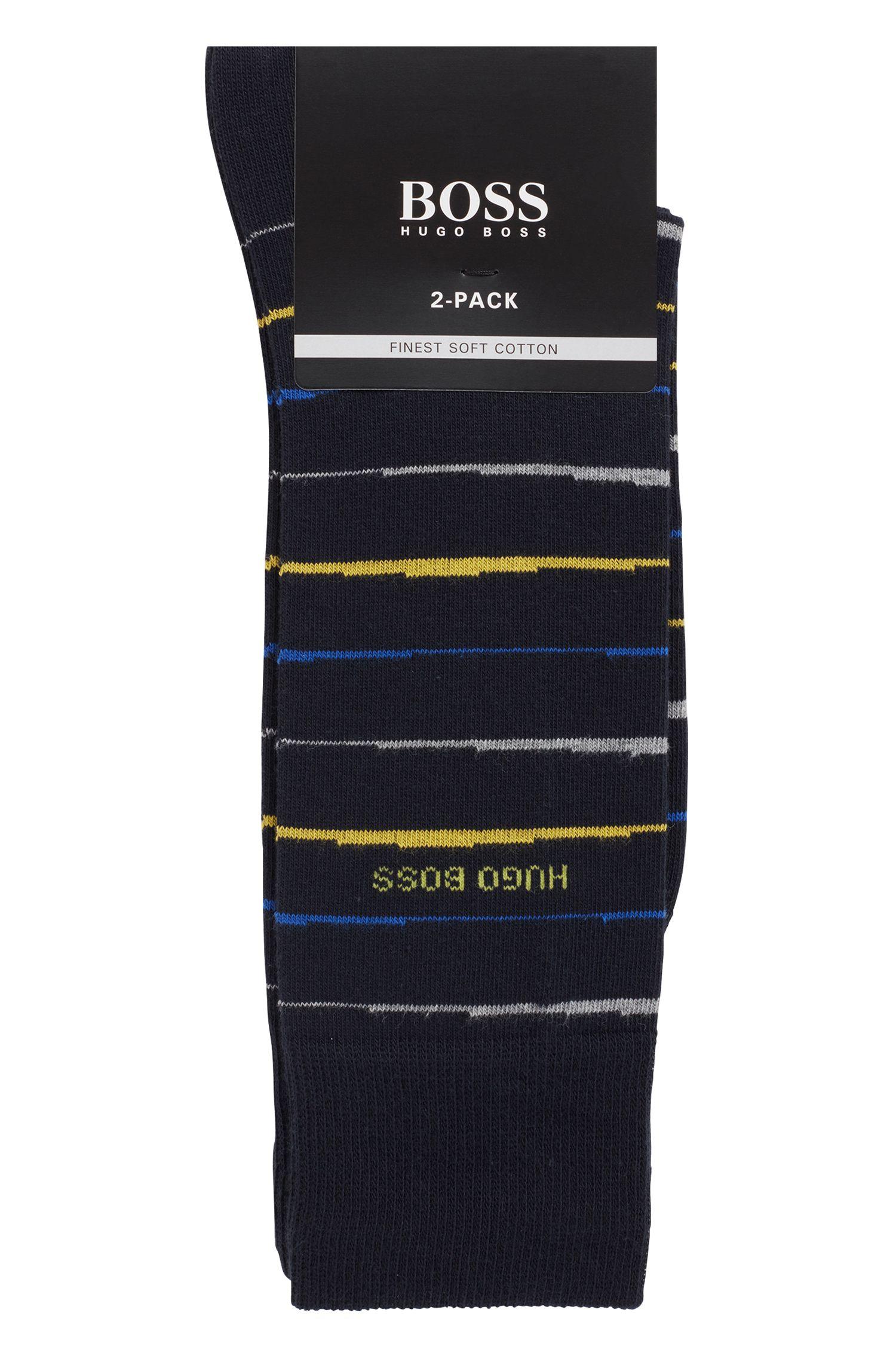 Mittelhohe Socken aus Baumwoll-Mix mit gekämmtem Finish im Zweier-Pack, Dunkelblau