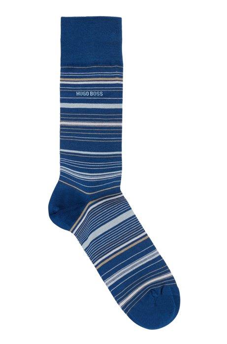 Chaussettes mi-mollet en coton mélangé mercerisé à rayures, Bleu