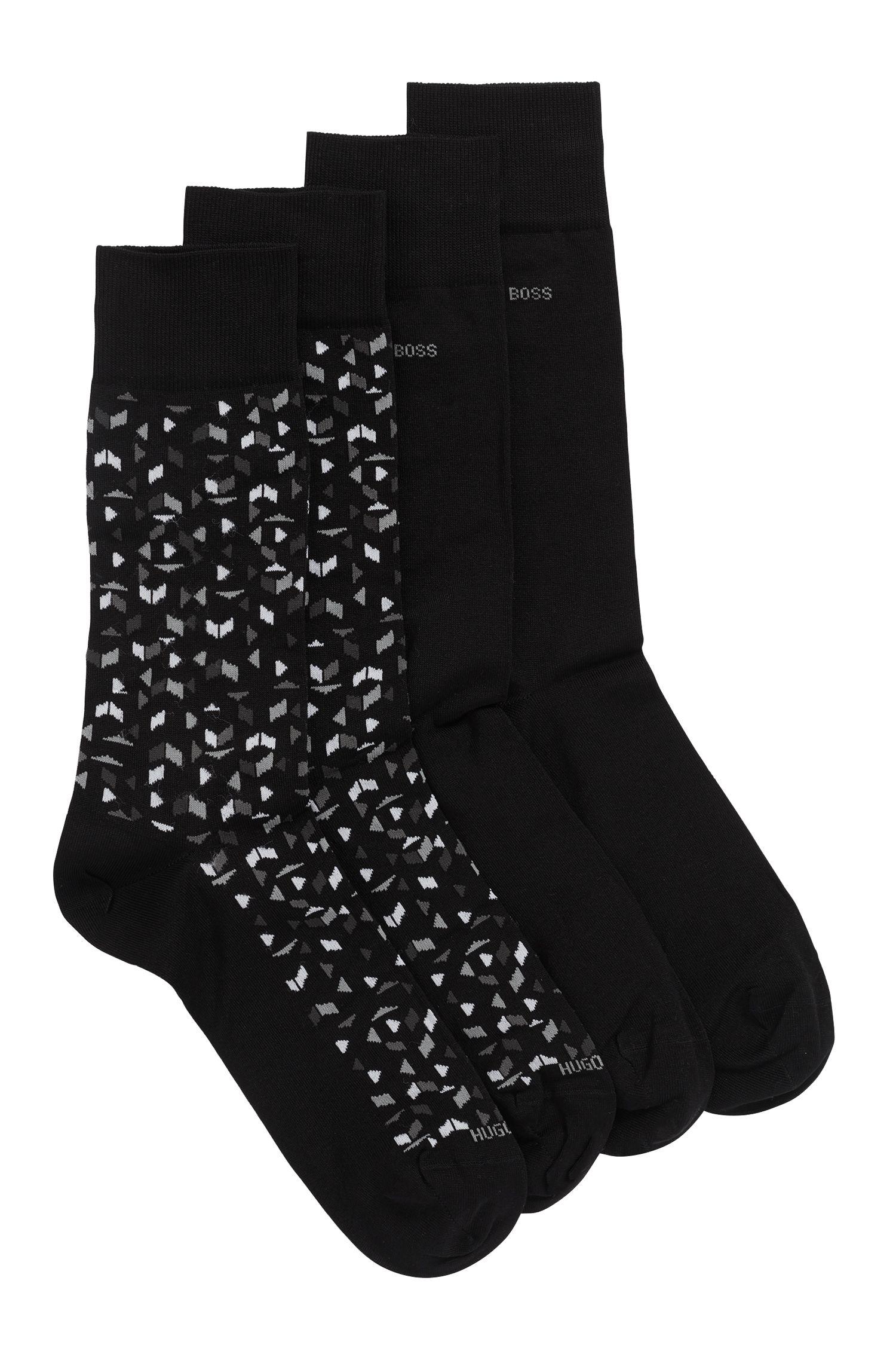 Socken aus merzerisiertem Baumwoll-Mix im Zweier-Pack, Schwarz