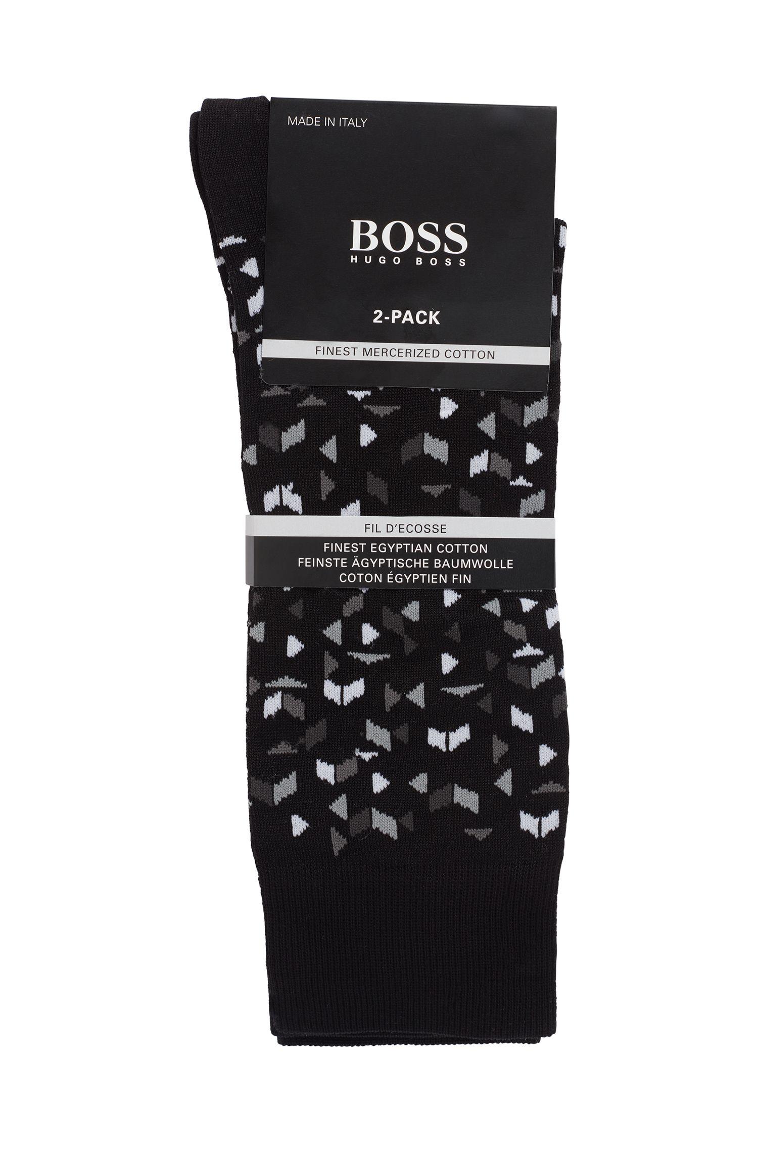 Two-pack of socks in a mercerised cotton blend, Black