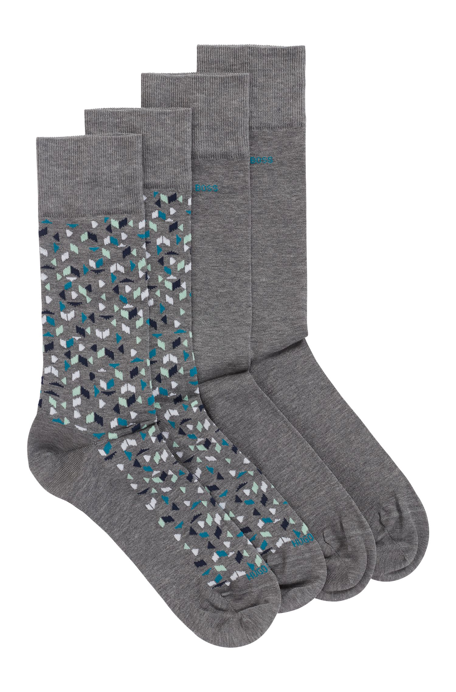 Two-pack of socks in a mercerised cotton blend, Grey