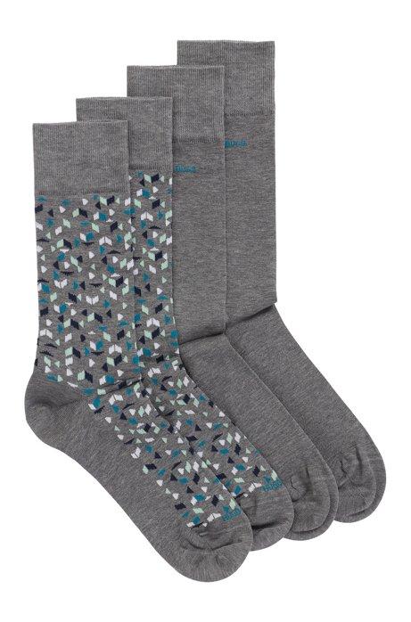 Lot de deux paires de chaussettes en coton mélangé mercerisé, Gris