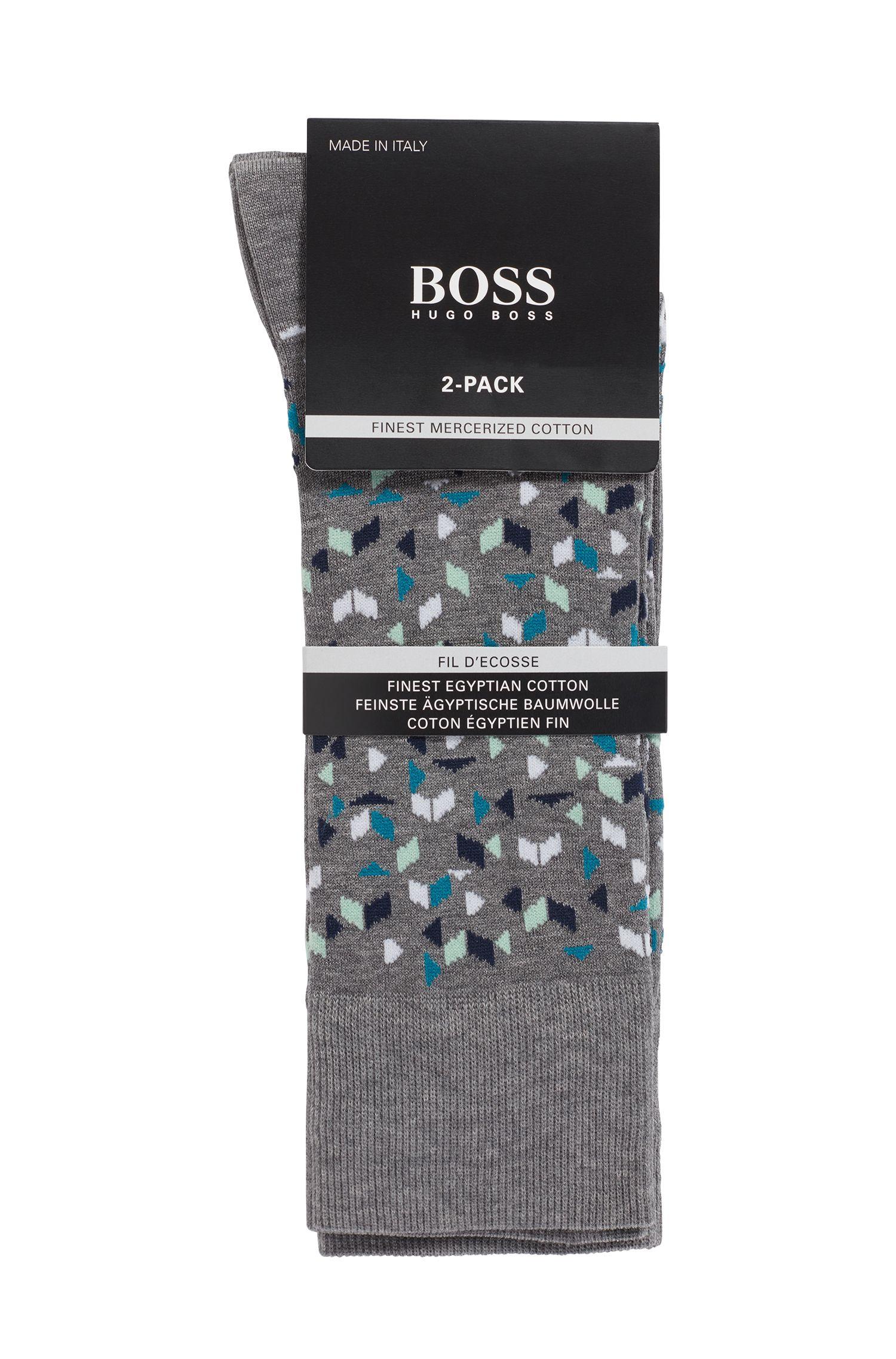 Socken aus merzerisiertem Baumwoll-Mix im Zweier-Pack, Grau