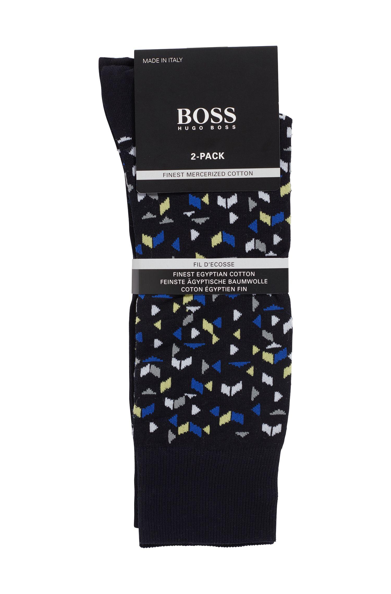 Set van twee paar sokken van een gemerceriseerde katoenmix, Donkerblauw