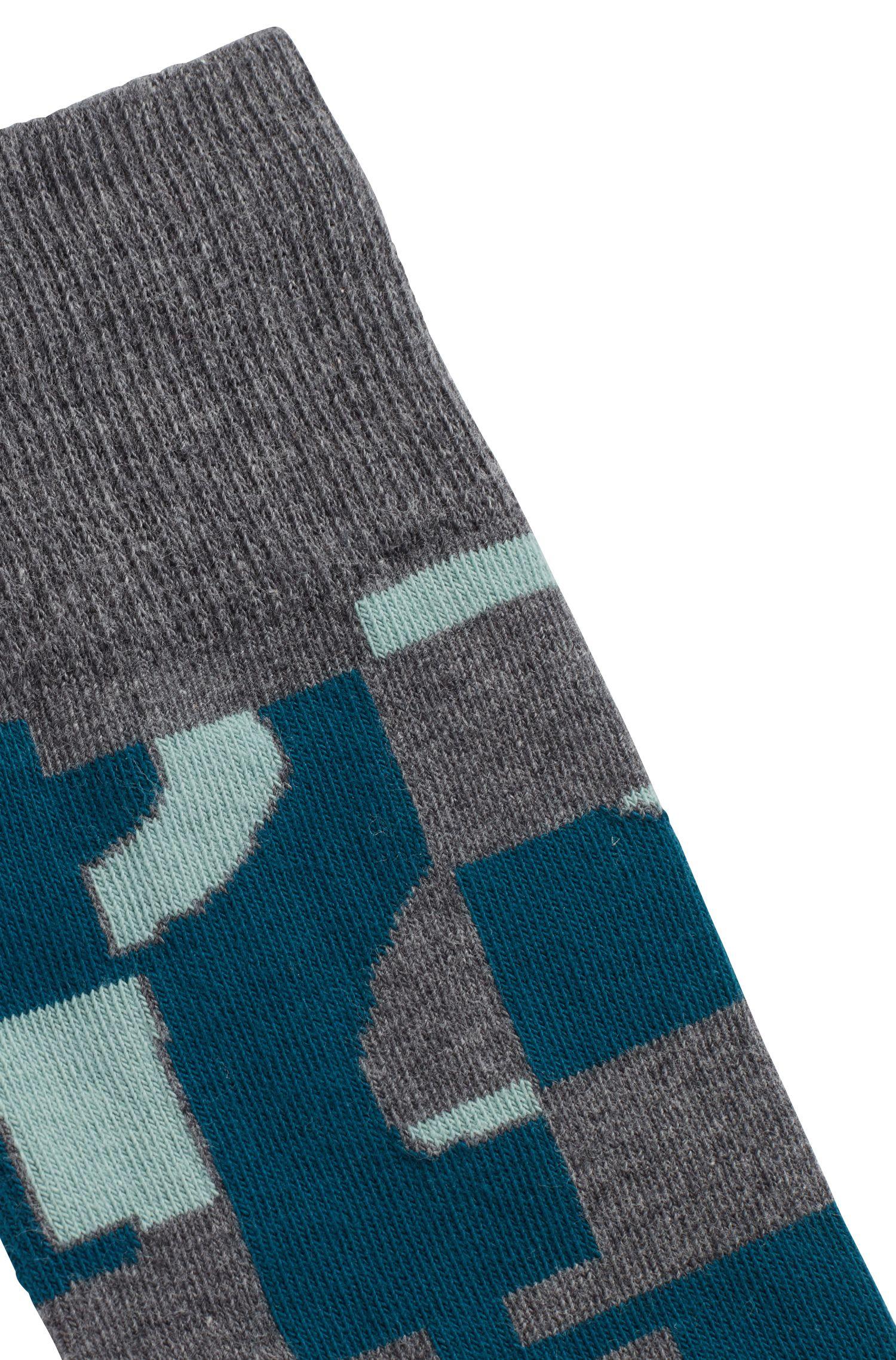 Calze di lunghezza media in misto cotone a disegni astratti, Grigio