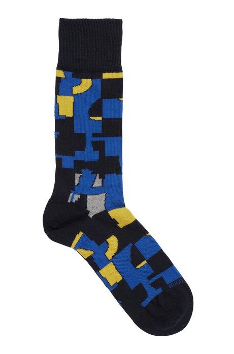 Mittelhohe Socken aus Baumwoll-Mix mit abstraktem Muster, Dunkelblau