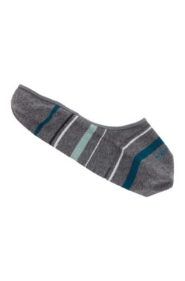 Füßlinge aus elastischem Baumwoll-Mix mit Streifen-Muster, Grau