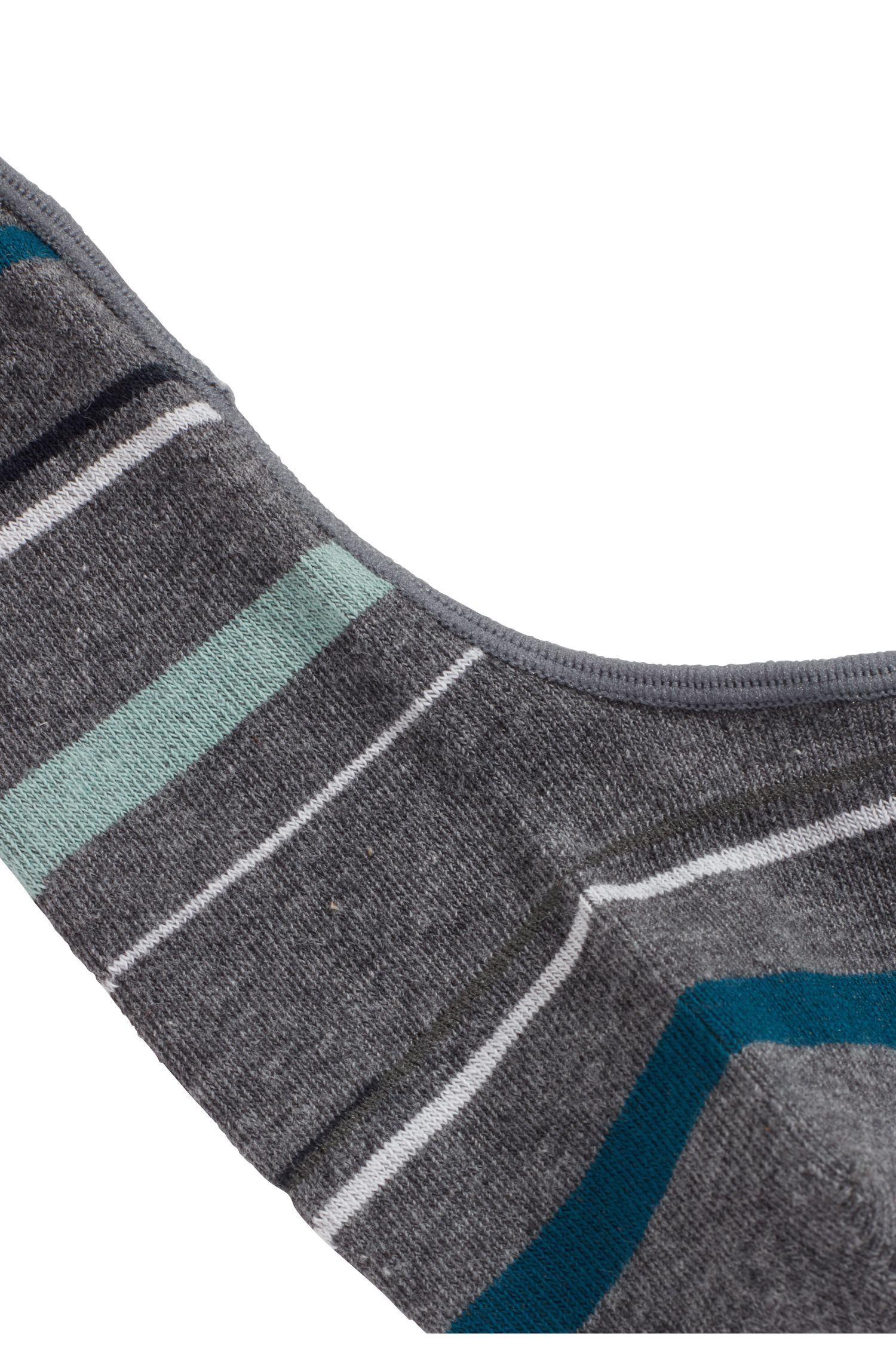 Cotton-blend invisible socks with striped pattern, Grey
