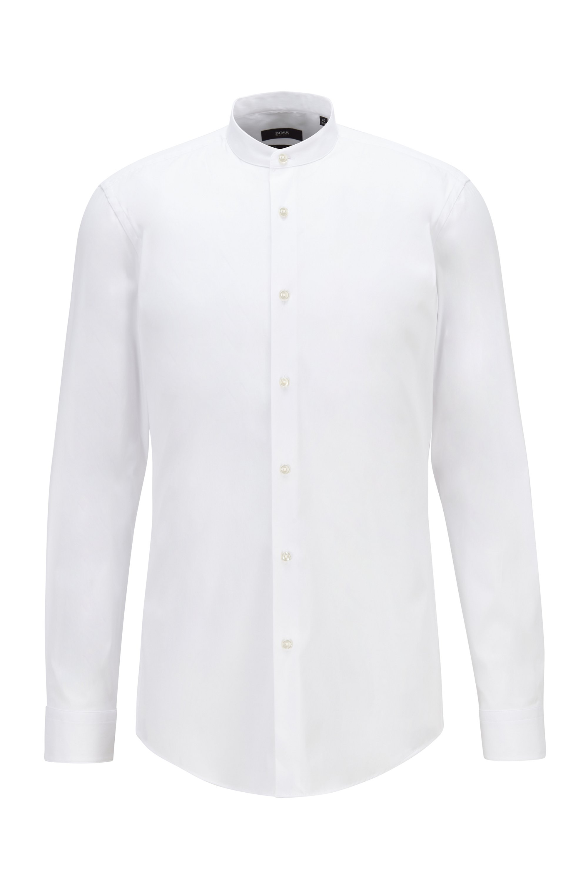 Slim-fit shirt in easy-iron performance-stretch poplin, White