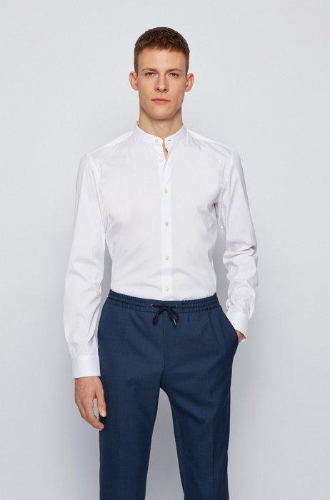 Slim-fit shirt in easy-iron performance-stretch poplin, White