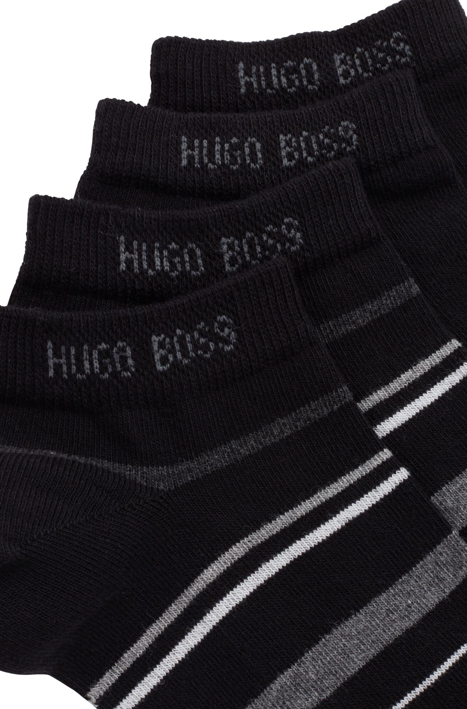 Sneakers-Socken aus Baumwoll-Mix im Zweier-Pack, Schwarz