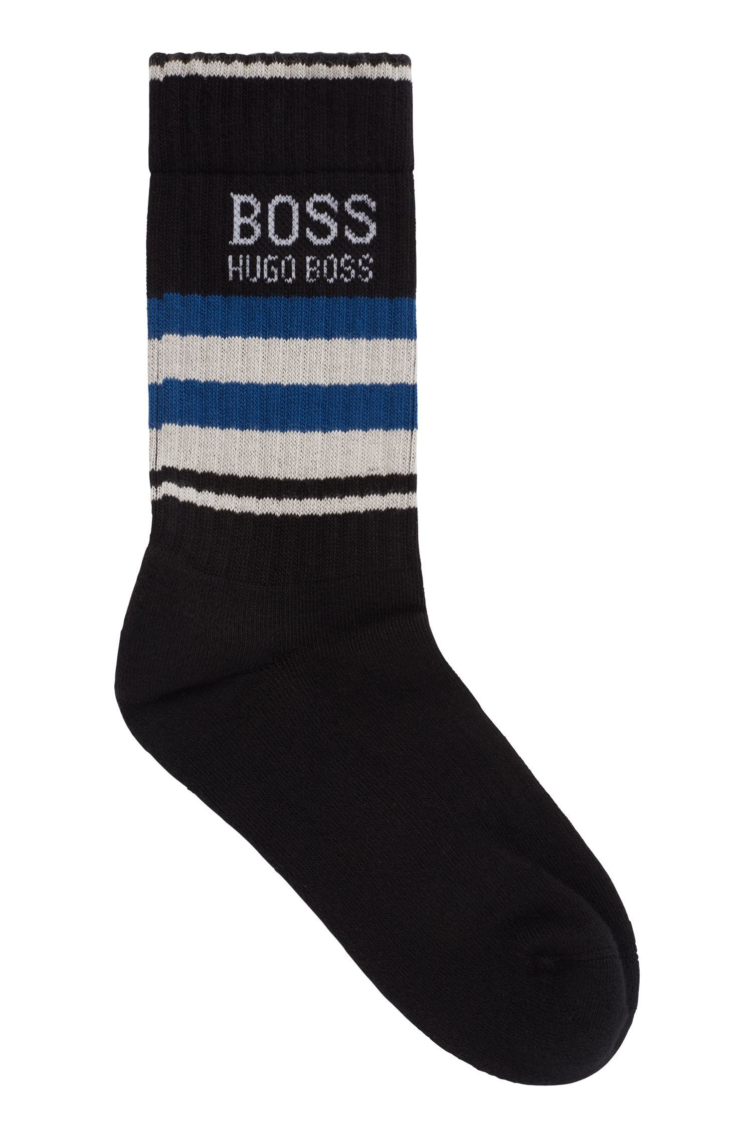 Quarter-length socks in a combed stretch-cotton blend, Noir