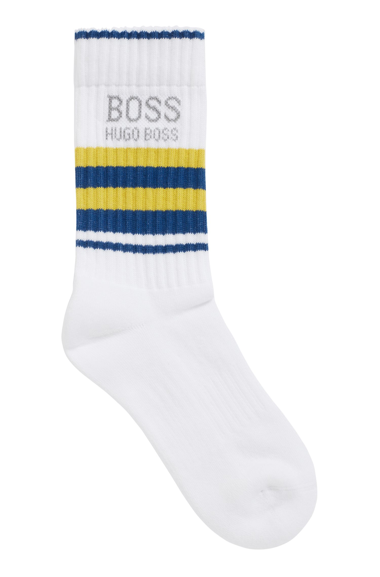 Quarter-length socks in a combed stretch-cotton blend, White