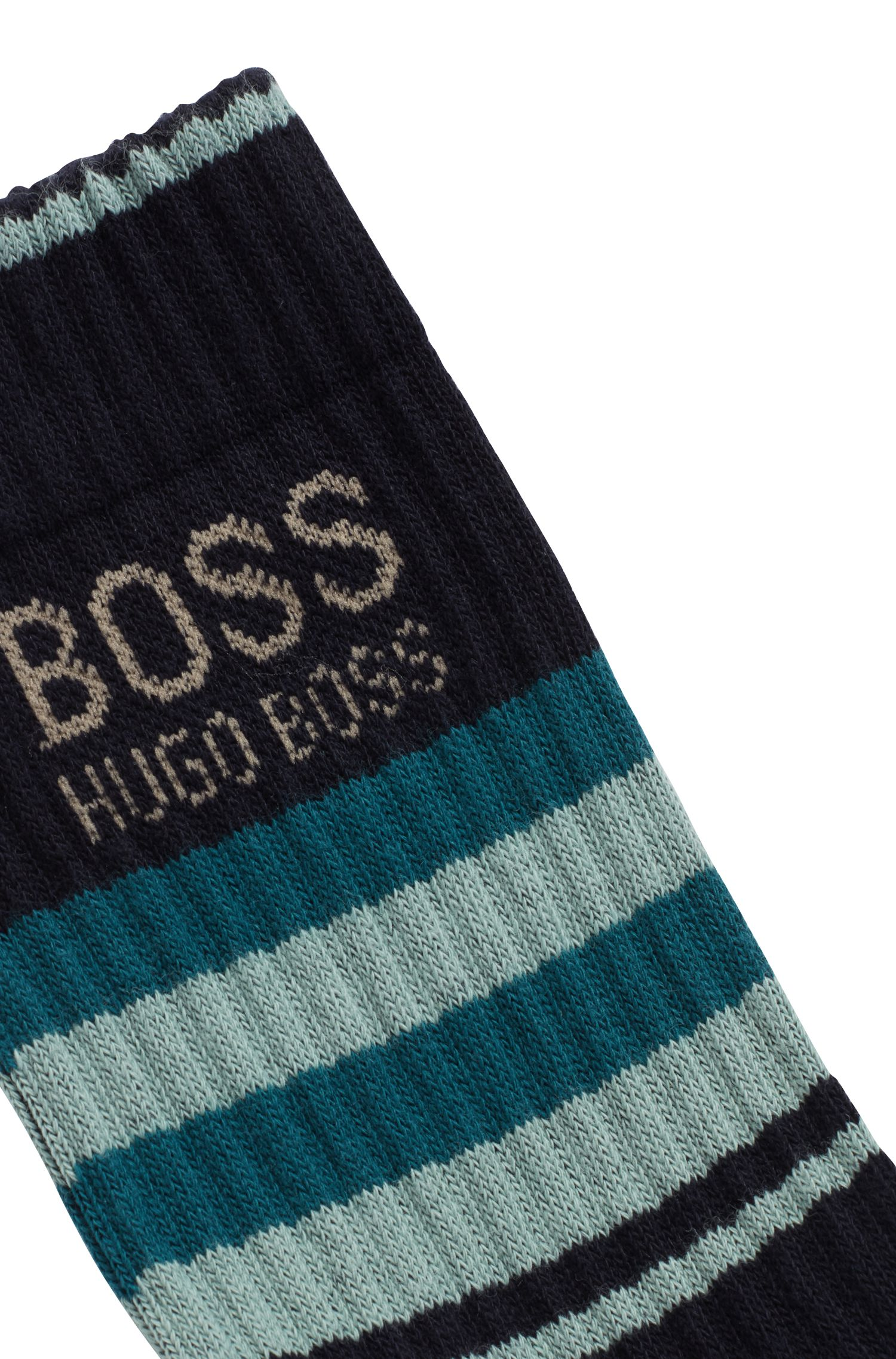 Quarter-length socks in a combed stretch-cotton blend, Azul oscuro