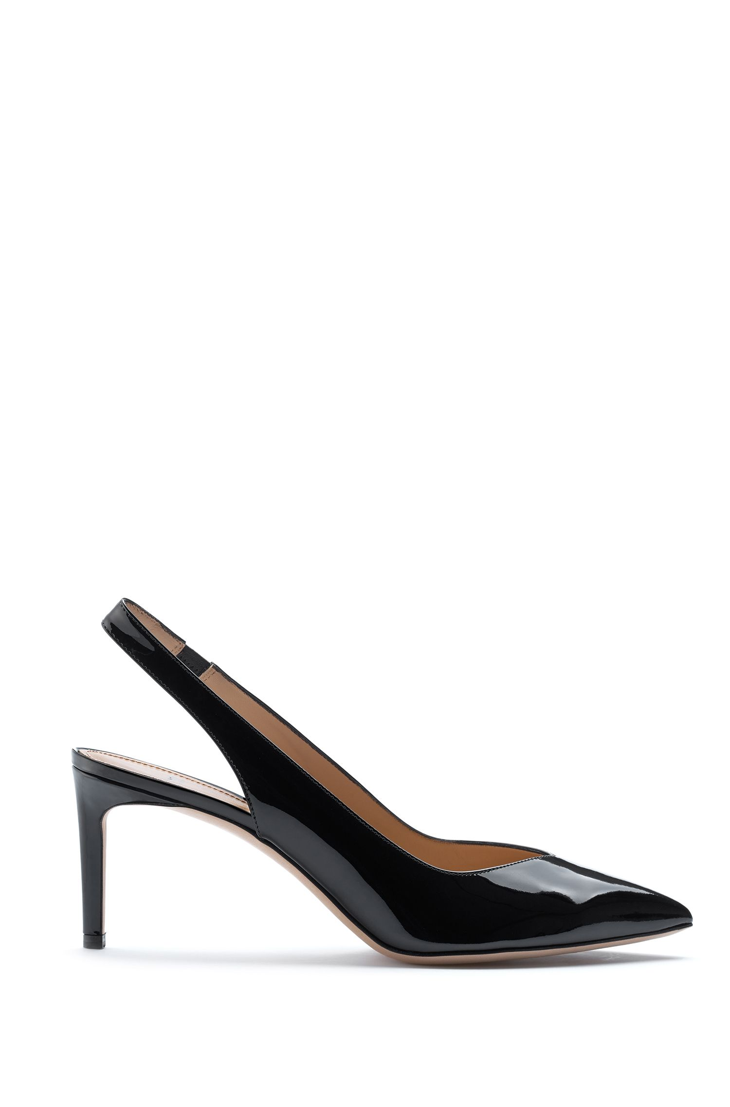 Slingback pumps in Italian patent leather, Black