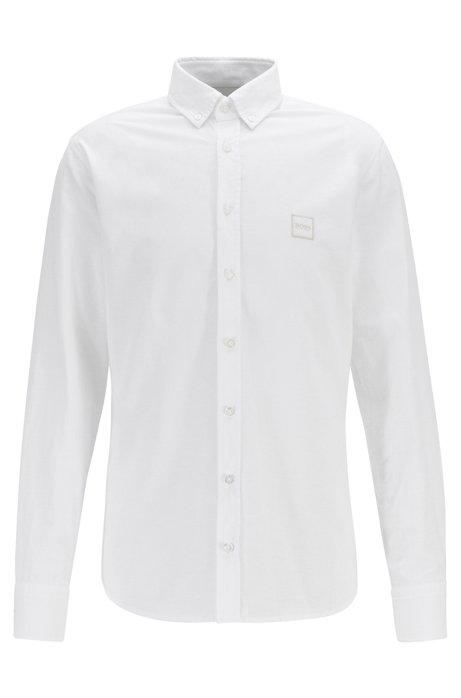 Slim-fit shirt in Oxford cotton with logo patch, White