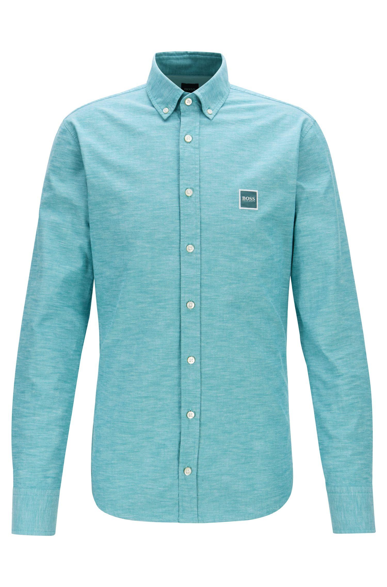 Slim-Fit Hemd aus Oxford-Baumwolle mit Logo-Aufnäher, Grün