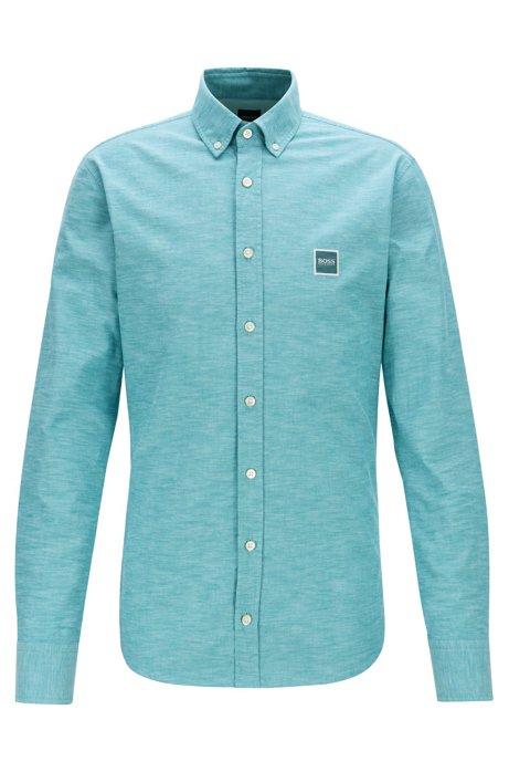 Camicia slim fit in cotone oxford con etichetta con logo, Verde