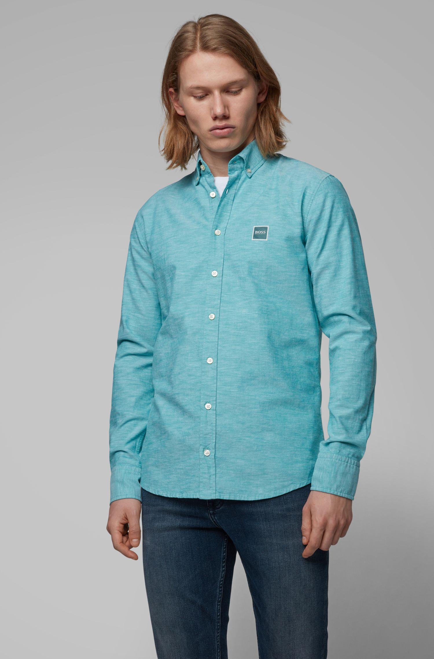 Chemise Slim Fit en coton Oxford à étiquette logo, Vert