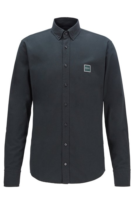 Slim-fit shirt in Oxford cotton with logo patch, Dark Green