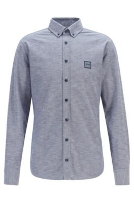 Slim-fit shirt in Oxford cotton with logo patch, Dark Blue