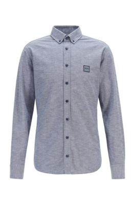 Slim-fit overhemd van oxfordkatoen met logopatch, Donkerblauw
