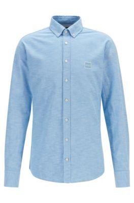 Slim-Fit Hemd aus Oxford-Baumwolle mit Logo-Aufnäher, Dunkelblau