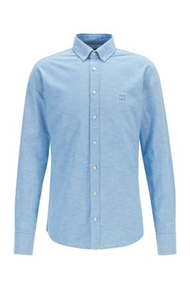Slim-fit shirt in Oxford cotton with logo patch, Light Blue