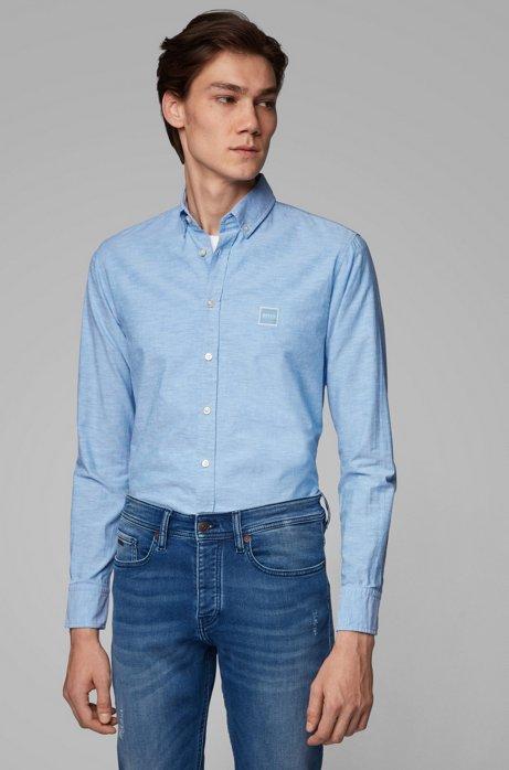 Slim-fit overhemd van oxfordkatoen met logopatch, Lichtblauw