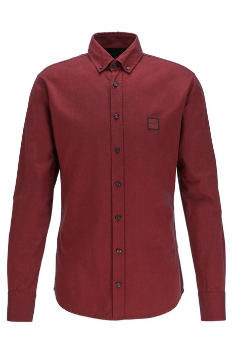 Slim-fit shirt in Oxford cotton with logo patch, Red