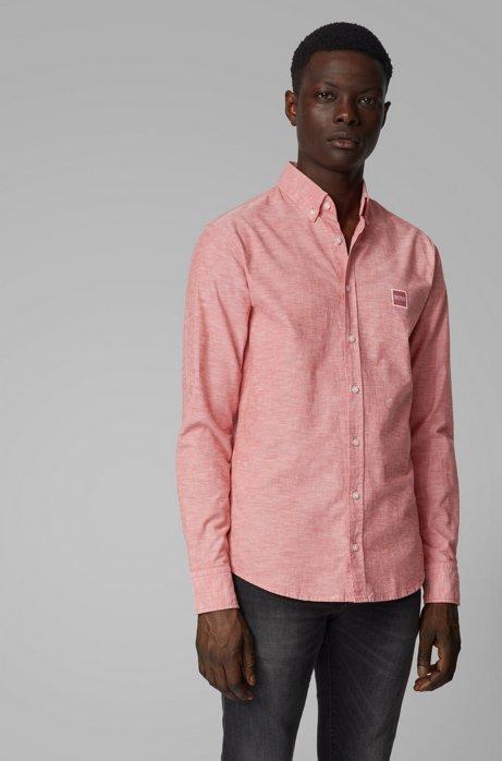 Camisa slim fit en algodón Oxford con parche de logo, Rosa claro