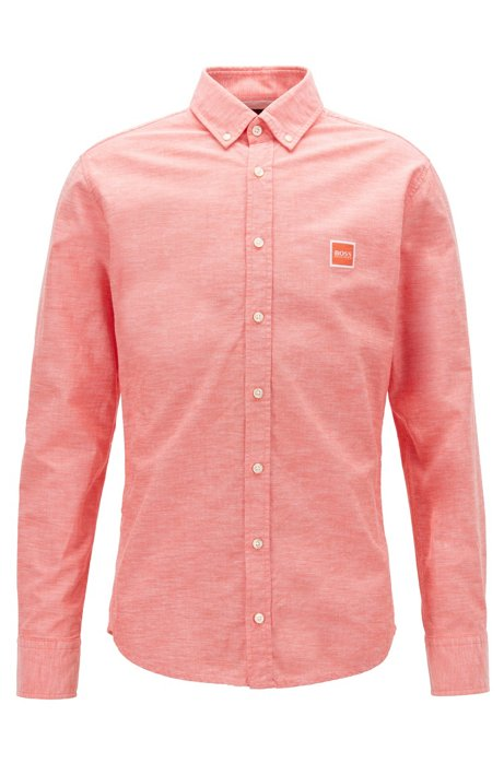 Slim-fit shirt in Oxford cotton with logo patch, Orange