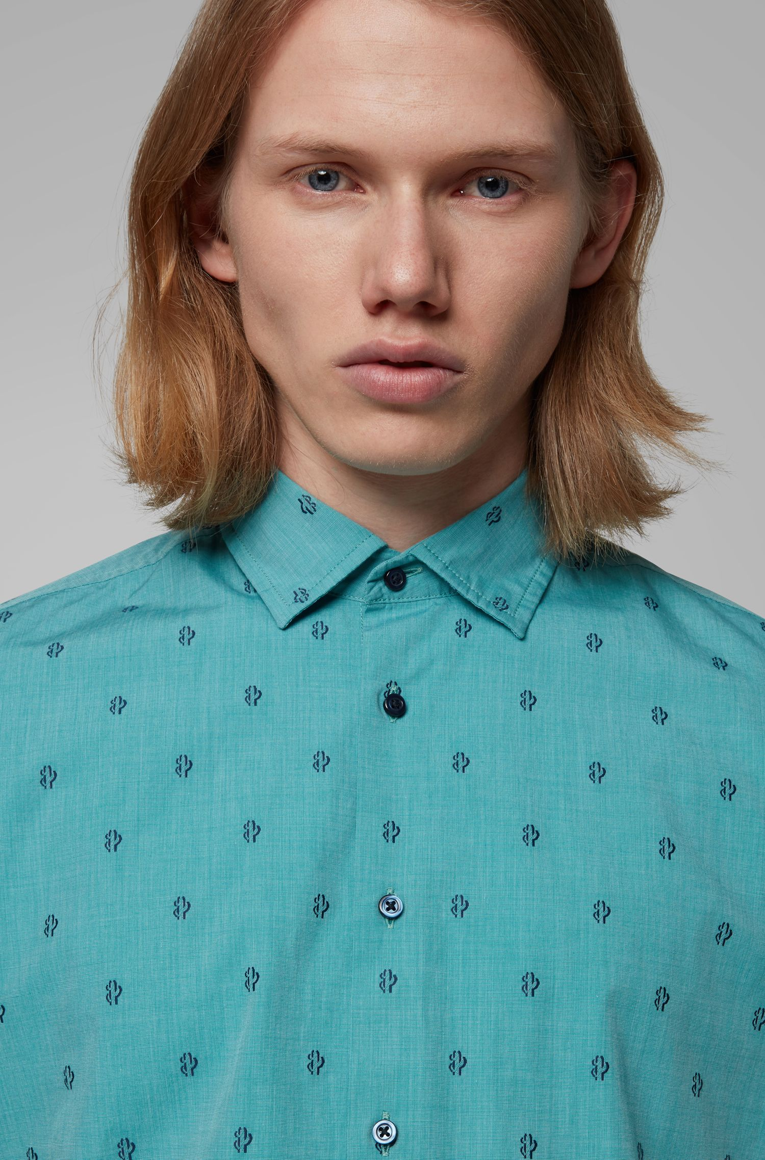 Regular-fit shirt in cotton jacquard with cactus motif, Green