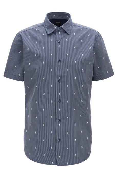 Regular-fit shirt in cotton jacquard with cactus motif, Dark Blue
