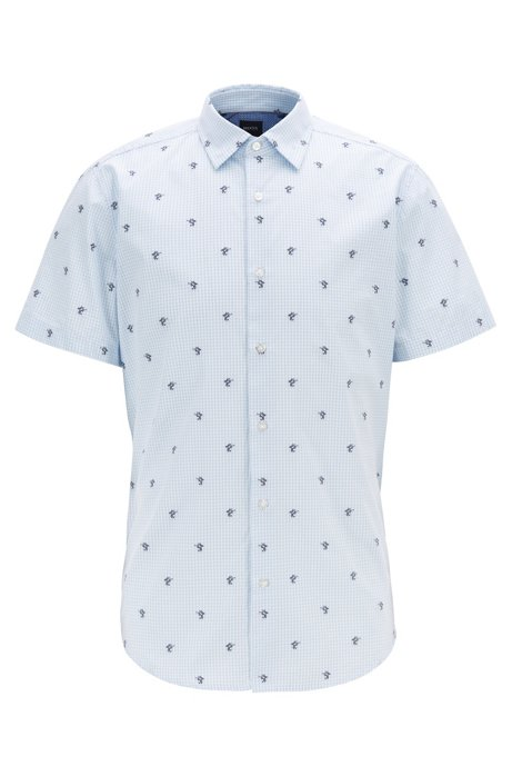 Regular-Fit Hemd aus Baumwoll-Jacquard mit Kaktusmotiv, Hellblau