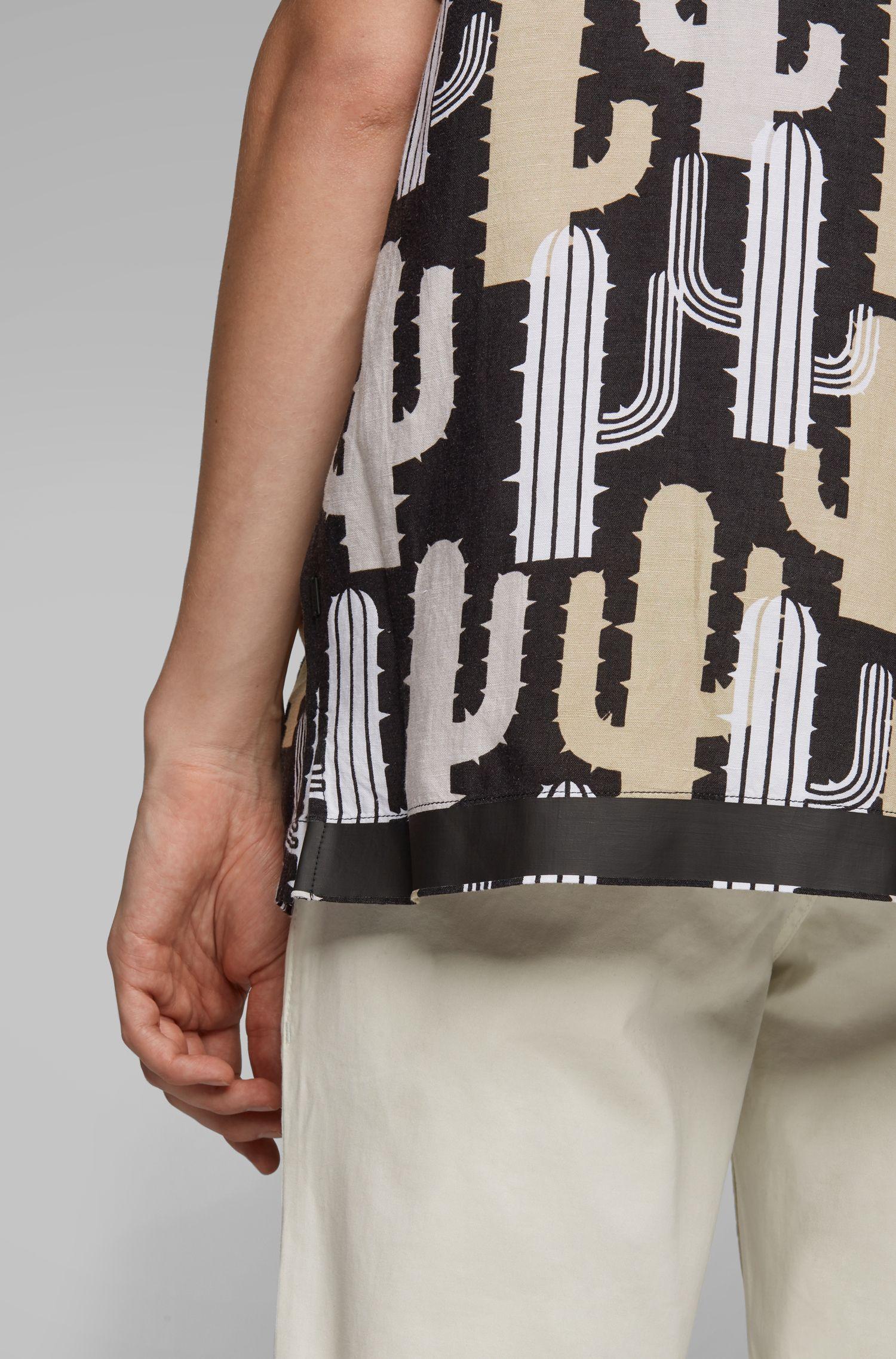 Camisa relaxed fit en mezcla de lino con estampado de cactus, Fantasía
