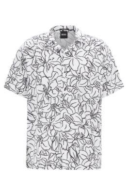 Relaxed-Fit Hemd aus Leinen-Mix mit Print, Gemustert