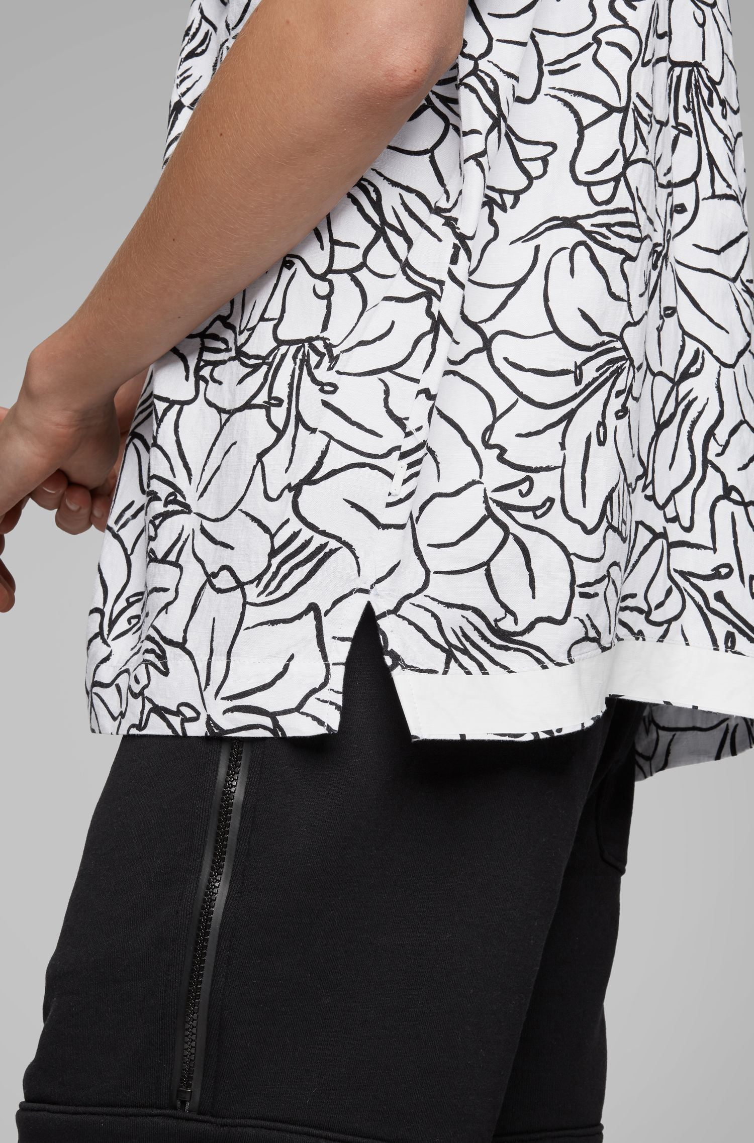 Relaxed-fit shirt in a cactus-printed linen blend, Patterned