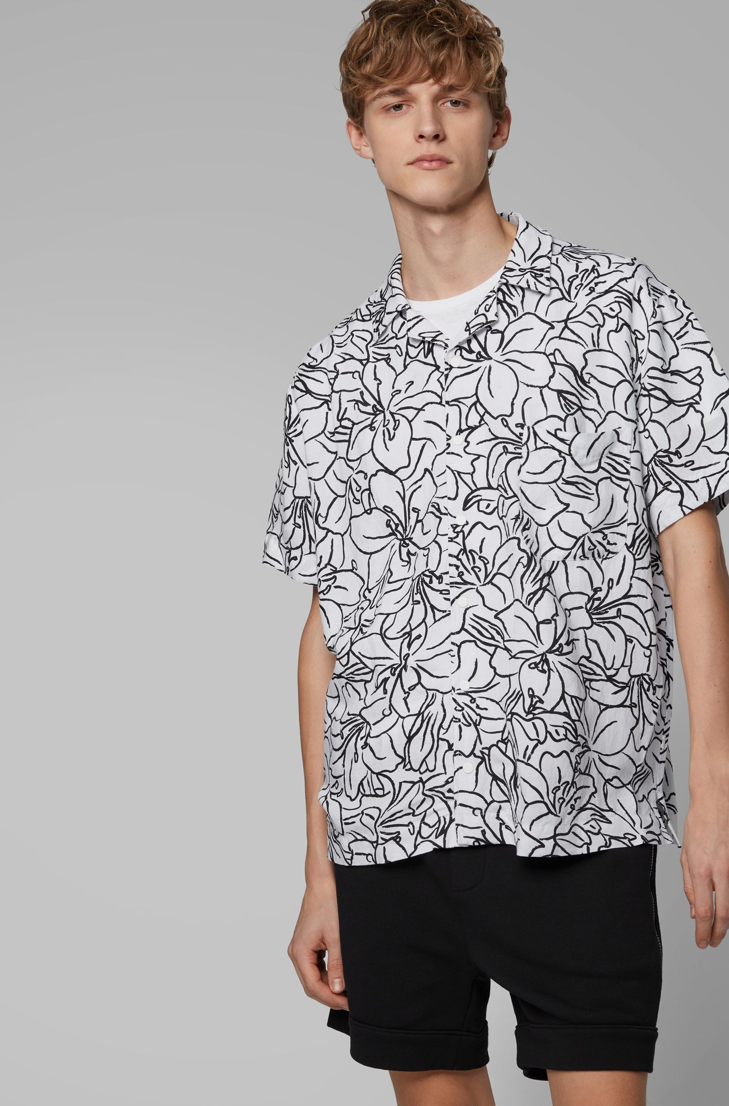 Camicia relaxed fit in misto lino con stampa con cactus, A disegni
