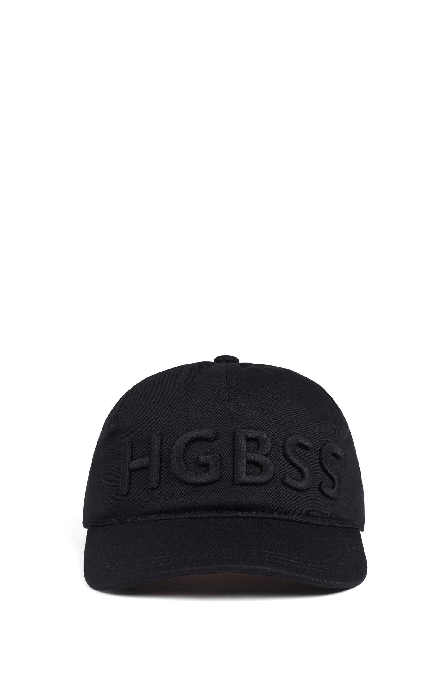 Cappellino di tendenza in twill di cotone con scritta con logo, Nero