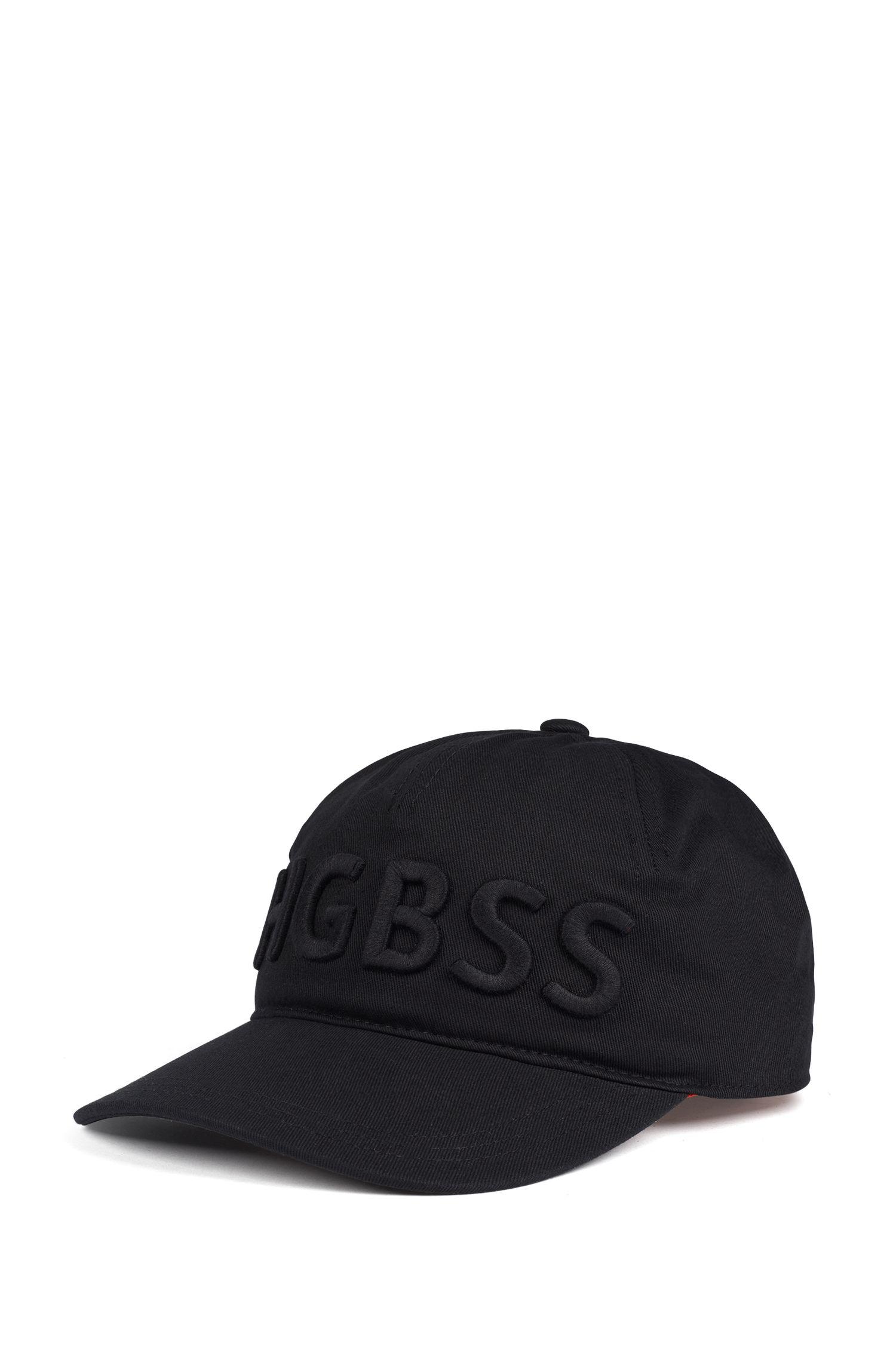Statement-Cap aus Baumwoll-Twill mit Logo-Schriftzug, Schwarz