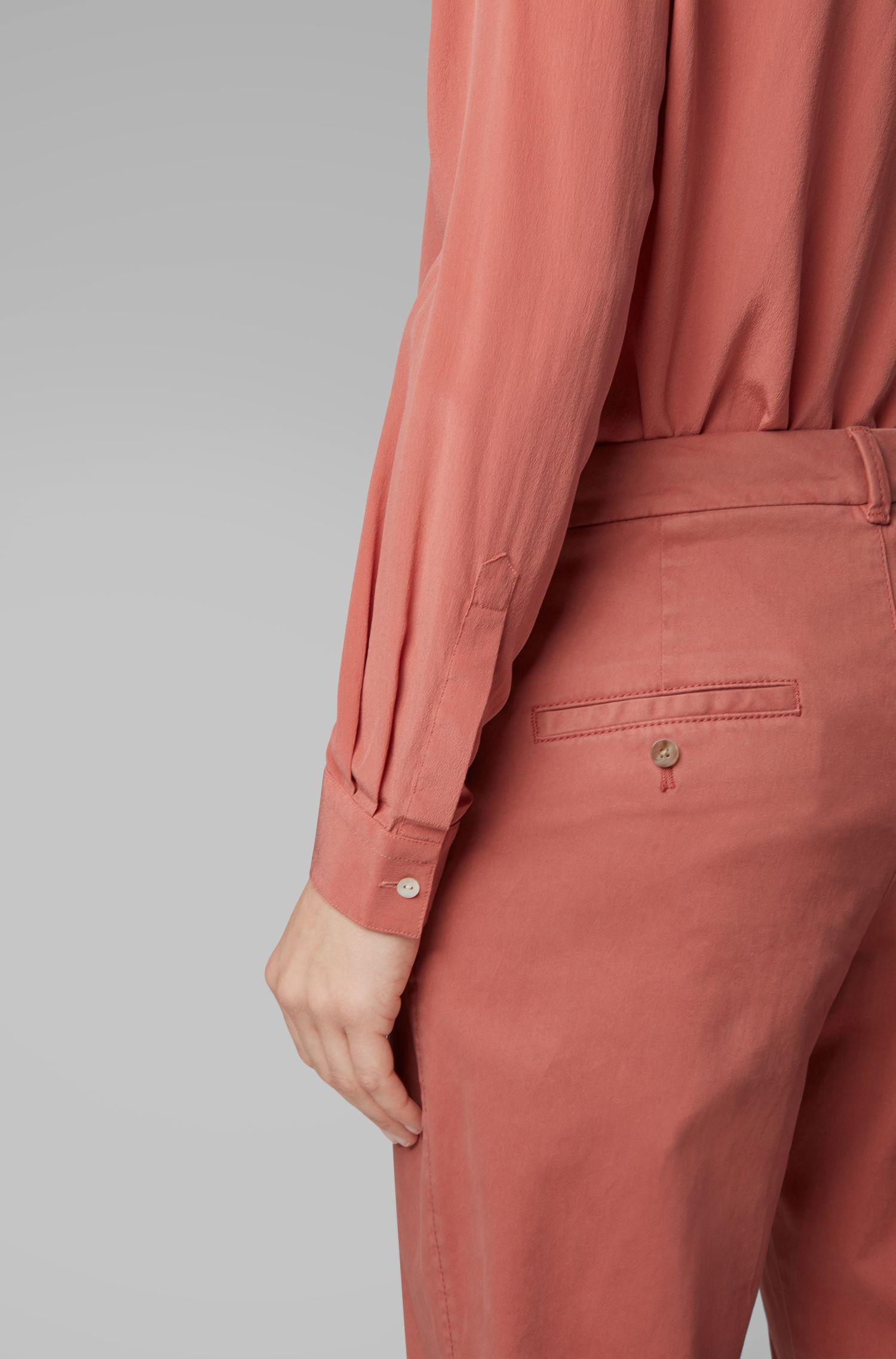 Camicetta regular fit in seta sandwashed, Rosso chiaro