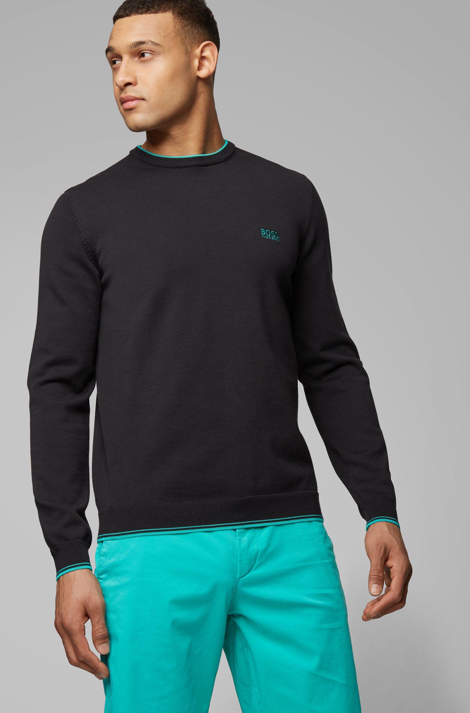 Pullover aus Baumwoll-Mix mit Rundhalsausschnitt und Kontrast-Details, Schwarz