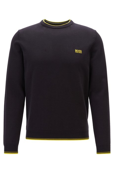 Crew-neck sweater with contrast details, Black