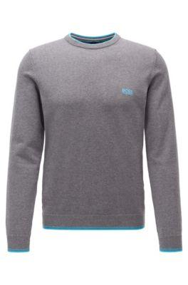 Pullover aus Baumwoll-Mix mit Rundhalsausschnitt und Kontrast-Details, Grau
